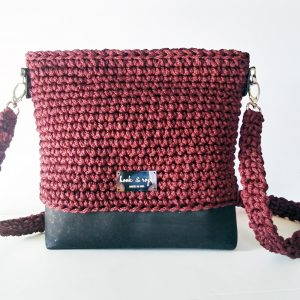 wine crossbody shoulder bag handmade hand crocheted