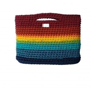 rainbow top handle purse with cork leather bottom