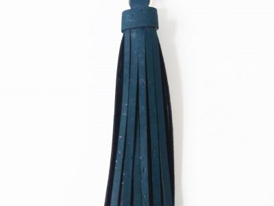 teal blue cork leather tassel